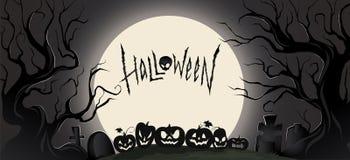 Fond foncé horizontal avec des attributs de Halloween et une grande lune Illustration de vecteur illustration stock