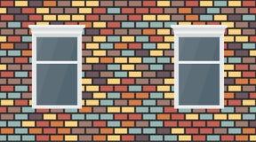 Fond fonc? brun bleu rouge color? de mur de briques de violette jaune de vecteur Ma?onnerie urbaine et fen?tre de vieille texture illustration de vecteur