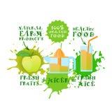 Fond frais d'éclaboussure de peinture de nourriture de Juice Logo Apple Juicer Maker Natural et de concept de produits de la ferm Photos stock