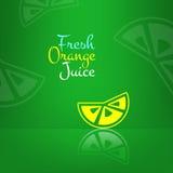 Fond frais de menu de jus d'orange de vecteur Vert Photos libres de droits