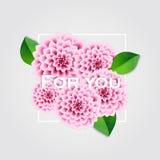 Fond frais de ressort avec les feuilles de vert et le dahlia rose Carte de voeux de cru Vecteur illustration de vecteur