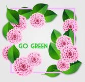 Fond frais de ressort avec les feuilles de vert et le dahlia rose Carte de voeux de cru Vecteur illustration stock
