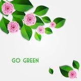 Fond frais de ressort avec les feuilles de vert et le dahlia rose Vecteur illustration stock