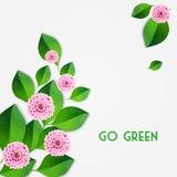 Fond frais de ressort avec les feuilles de vert et le dahlia rose Vecteur illustration de vecteur