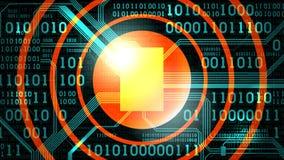 Fond futuriste abstrait avec le code binaire électronique de carte et l'endroit rond pour le logo de symbole des textes illustration de vecteur