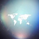Fond futuriste abstrait avec les canalisations de raccordement et les points, texture linéaire polygonale Carte du monde sur le b Photo stock