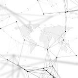 Fond futuriste abstrait avec les canalisations de raccordement et les points, texture linéaire polygonale Carte du monde sur le b Image libre de droits