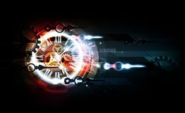 Fond futuriste abstrait bleu rouge de technologie avec la machine de concept et de temps d'horloge, illustration de vecteur Photo stock