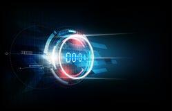 Fond futuriste abstrait de technologie avec le concept de minuterie de nombre de Digital et le compte à rebours, illustration de  Photo stock
