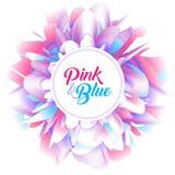 Fond futuriste abstrait, fleur rose et bleue fantastique de pivoine Photographie stock
