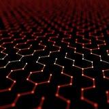 Fond futuriste d'abrégé sur modèle d'hexagone l'illustration 3d rendent Surface de l'espace Contexte foncé de la science fiction  Illustration de Vecteur