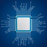 Fond futuriste de bleu de carte de processeur illustration libre de droits