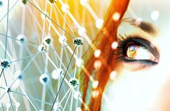 Fond futuriste de concept de la science et technologie illustra 3D images stock