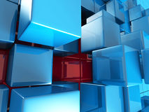 Fond futuriste de conception de cubes bleus abstraits Photos stock