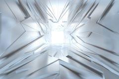 Fond futuriste de tunnel de triangle irrégulière architecturale abstraite de lumière fait en argent ou platine Bille 3d différent illustration libre de droits