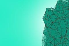 Fond futuriste de turquoise de technologie Imagination futuriste de triangle en bon état de plexus rendu 3d image stock