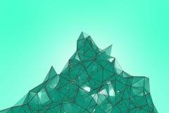 Fond futuriste de turquoise de technologie Imagination futuriste de triangle en bon état de plexus rendu 3d Photo stock