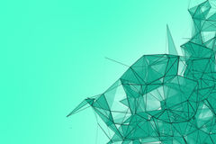 Fond futuriste de turquoise de technologie Imagination futuriste de triangle en bon état de plexus rendu 3d photo libre de droits