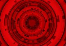 Fond futuriste de vecteur de technologie noire rouge abstraite de cercle Photos libres de droits
