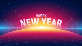 Fond futuriste moderne de nouvelle année avec le lever de soleil, la structure de connexion de polygones et la planète de grille  illustration libre de droits