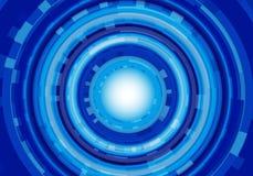 Fond futuriste moderne de vecteur de technologie de cercle de conception bleue abstraite de puissance Photos stock