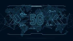 Fond futuriste pour la technologie 5G avec la carte de structure et du monde de connexion de polygones en pixels Concept de techn illustration de vecteur