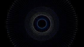 Fond futuriste, tunnel fait de points colorés et lumière de cercle Boucle abstraite géométrique de forme avec Alpha Channel illustration stock