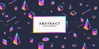 Fond géométrique à la mode d'art abstrait avec le style plat et minimalistic de Memphis Affiche de vecteur avec des éléments illustration stock