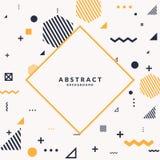 Fond géométrique à la mode d'art abstrait avec le style plat et minimalistic de Memphis Affiche de vecteur avec des éléments Illustration Libre de Droits