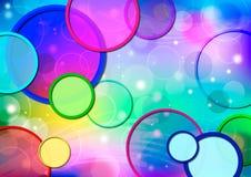 Fond géométrique abstrait, jaune, cercles concentriques vert-bleu Image stock