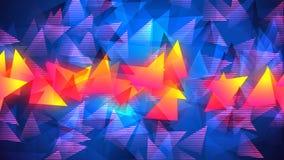Fond géométrique abstrait lumineux avec des chiffres de triangle Graphique fait une boucle du mouvement 4K illustration stock