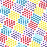 Fond géométrique abstrait sans couture de coeur et place et cercle et coutil sur le fond blanc dans le style d'aquarelle illustration libre de droits
