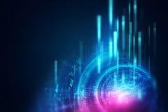 Fond géométrique bleu de technologie d'abrégé sur forme circulaire Images libres de droits
