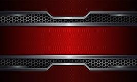 Fond géométrique, cadre rouge avec le gril en métal illustration stock