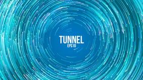 Fond géométrique circulaire de vecteur Lignes colorées rondes de Blue Circle Traînée abstraite de vortex Couverture plate de tour illustration de vecteur