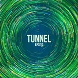 Fond géométrique circulaire de vecteur Lignes colorées rondes de cercle vert Traînée abstraite de vortex Couverture plate de tour illustration stock