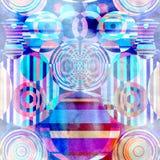 Fond géométrique de cercles d'aquarelle abstraite Image stock