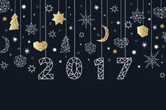 Fond géométrique de style de la nouvelle année 2017 Composition en vacances Photos libres de droits