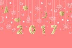 Fond géométrique de style de la nouvelle année 2017 Composition en vacances avec l'étoile, coeur, lune, boule, noel Photos libres de droits