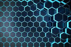 fond géométrique hexagonal abstrait bleu de l'illustration 3D Structure des hexagones luminescents dans la tonalité bleue avec Image stock