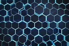fond géométrique hexagonal abstrait bleu de l'illustration 3D Structure des hexagones luminescents dans la tonalité bleue avec Images libres de droits
