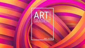 Fond géométrique lumineux Formes en forme d'arc-en-ciel abstraites Lignes incurvées violettes et oranges illustration de vecteur