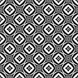 Fond géométrique répété sans couture noir et blanc de modèle de fleur décorative Textile, livres, streptocoque Illustration Stock