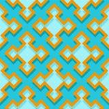 Fond géométrique sans couture avec les éléments carrés Modèle bleu 3d et orange illustration stock
