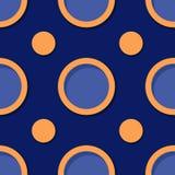 Fond géométrique sans joint Modèle bleu et orange profond du cercle 3d illustration stock