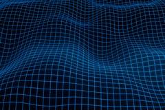Fond g?om?trique abstrait avec le paysage num?rique ou les vagues Rendu de l'hologramme 3 D de wireframe de Montain illustration de vecteur