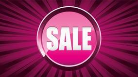 Fond girly rose d'annonce de vente avec le bouton brillant de vente illustration libre de droits