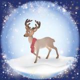 Fond givré de neige d'hiver avec un cerf commun de Noël illustration stock