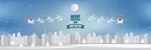 Fond grand-angulaire de ville de vue, Noël avec le flocon de neige et Santa, style de papier d'art illustration libre de droits