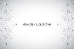 Fond gris abstrait géométrique avec les lignes et les points reliés Médecine, la science, contexte de technologie pour votre conc Photographie stock libre de droits